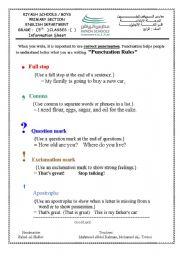 English Worksheet: punctuation rules