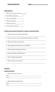English worksheet: subject and object questions