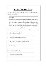 English Worksheets: A LETTER FROM DAN (WH - q in Past)