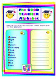 The good teacher alphabet