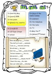 English Worksheet: IN, ON, AT