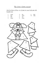 English Worksheets: The crazy clown puppet