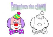 English Worksheets: complete the clown