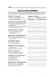 English Worksheet: Subject-Verb Agreement-Song Lyrics