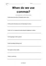 English Worksheet: When do we use commas?