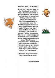 English Worksheets: the fox and the monkey