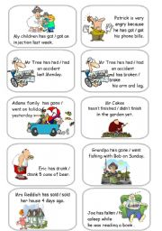 English Worksheet: Present Perfect vs Simple Past cards 1