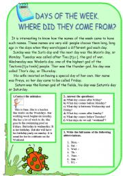 English Worksheet: the origin of the days of the week