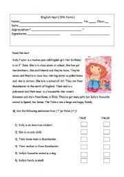 English Worksheet: 5th form evaluation test