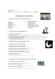 English worksheet: Exercises - Simple present