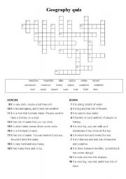 English Worksheets: Geography vocabulary crossword