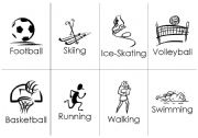 English Worksheet: 20 Sports flashcards, sport+name, 8up. B&W
