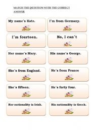 Cards for elementary level (ANSWERS) PART 1