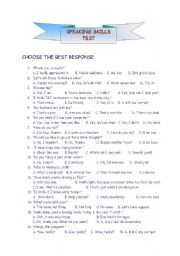 English Worksheet: Speaking Skills Test