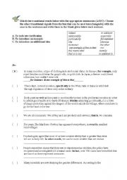 English Worksheets: Writing Transition Sentences