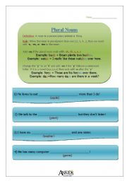 English Worksheets: (3 pages) Plural Nouns -s, -es, -ies