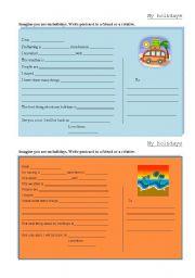 English Worksheet: My holidays- postcard writing