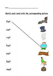 English Worksheets: phonics -at- matching worksheet
