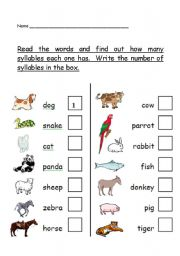 phonological awareness - number of syllables worksheet - animal theme