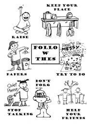 Rules To Follow In The Classroom Esl Worksheet By Teachergema