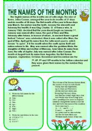 English Worksheet: The names of the months