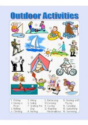 English Worksheets: Outdoor Activities Picture Dictionary