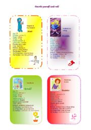 English Worksheets: decribe yourself cards 3/2