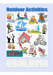 English Worksheets: Outdoor Activities Picture Dictionary - Fill in the Blanks