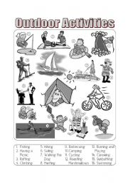 English Worksheets: Outdoor Activities Picture Dictionary Greyscale