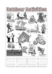 English Worksheets: Outdoor Activities Picture Dictionary - Fill in the Blanks Greyscale