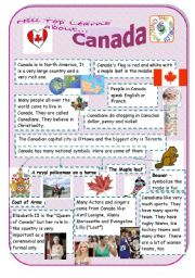 English Worksheet: Canada - an introduction to the country