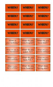 English Worksheet: Game: Garfield wants to know - When cards