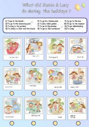 English Worksheets: What did Jamie & Lucy do during the holidays ?