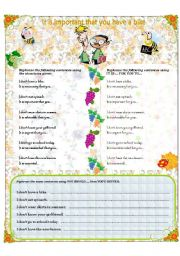 English Worksheet: It is important that you...