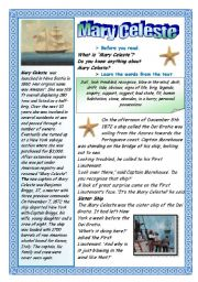 English Worksheets: MARY CELESTE - A GHOST SHIP.