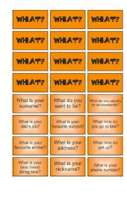 English Worksheet: Game: Garfield wants to know - What cards