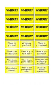 English Worksheet: Game: Garfield wants to know - Where cards