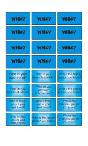 English Worksheet: Game: Garfield wants to know - Who & Why cards