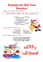 English Worksheet: Song: Rudolph the red nose reindeer