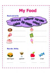 English worksheet: My Food Revision Quiz part 2
