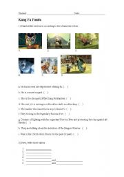Kung Fu Panda Worksheet ( MOVIES)