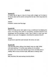 esl worksheets for beginners riddles with answers. Black Bedroom Furniture Sets. Home Design Ideas