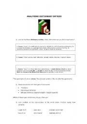 English worksheet: analysing dictionary entries