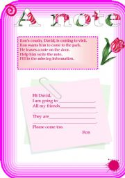 English Worksheets: A note