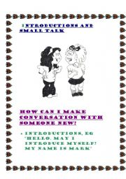 English Worksheets: Introduction and Small talk