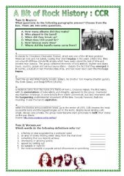 English Worksheets: A Bit of Rock History: Creedence Clearwater Revival�s Have you Ever Seen the Rain