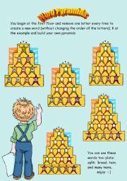 English Worksheets: Word pyramids