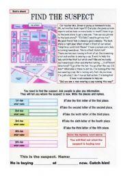 English Worksheets: Solving a crime on worksheet Part 1