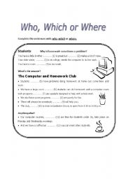 English Worksheets: Who, which or where