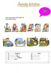 English Worksheets: Daily activities 2
